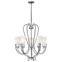 Hinkley 4225BN Channing 5 Light 27 inch Brushed Nickel Chandelier Ceiling Light, Etched Opal Glass