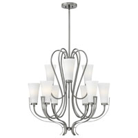 Hinkley 4228BN Channing 9 Light 32 inch Brushed Nickel Chandelier Ceiling Light, Etched Opal Glass