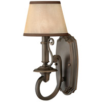 Hinkley 4240OB Plymouth 1 Light 7 inch Olde Bronze Sconce Wall Light in Ivory Silk Shades