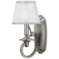 Plymouth 1 Light 7 inch Polished Antique Nickel Sconce Wall Light in Silver Organza Shade with Decorative Fabric Trim, Silver Organza Shade with Decorative Fabric Trim