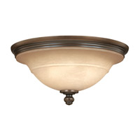 Plymouth 3 Light 18 inch Olde Bronze Flush Mount Ceiling Light in Mocha-Colored