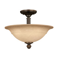 Hinkley 4242OB Plymouth 3 Light 16 inch Olde Bronze Semi Flush Ceiling Light in Mocha-Colored
