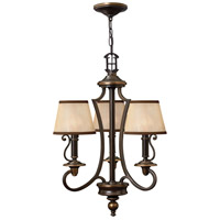 Hinkley 4243OB Plymouth 3 Light 18 inch Olde Bronze Chandelier Ceiling Light in Ivory Silk Shades