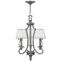 Hinkley 4243PL Plymouth 3 Light 18 inch Polished Antique Nickel Chandelier Ceiling Light, Silver Organza Shade with Decorative Fabric Trim
