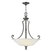 Hinkley 4244PL Plymouth 3 Light 25 inch Polished Antique Nickel Foyer Ceiling Light in Etched Opal, Etched Opal Glass