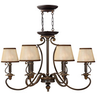 Hinkley 4245OB Plymouth 6 Light 34 inch Olde Bronze Foyer Chandelier Ceiling Light in Ivory Silk Shades, Oval