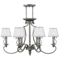 Hinkley 4245PL Plymouth 6 Light 34 inch Polished Antique Nickel Foyer Chandelier Ceiling Light in Silver Organza Shade with Decorative Fabric Trim, Silver Organza Shade with Decorative Fabric Trim