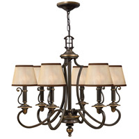 Hinkley 4246OB Plymouth 6 Light 28 inch Olde Bronze Foyer Chandelier Ceiling Light in Ivory Silk Shades