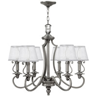 Hinkley 4246PL Plymouth 6 Light 28 inch Polished Antique Nickel Foyer Chandelier Ceiling Light, Silver Organza Shade with Decorative Fabric Trim
