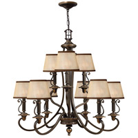 Hinkley 4248OB Plymouth 9 Light 32 inch Olde Bronze Foyer Chandelier Ceiling Light in Ivory Silk Shades, 2 Tier