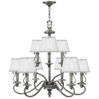 Hinkley 4248PL Plymouth 9 Light 32 inch Polished Antique Nickel Chandelier Ceiling Light in Silver Organza Shade with Decorative Fabric Trim, Silver Organza Shade with Decorative Fabric Trim