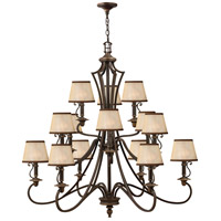 Plymouth 15 Light 45 inch Olde Bronze Foyer Chandelier Ceiling Light in Ivory Silk Shades, 3 Tier