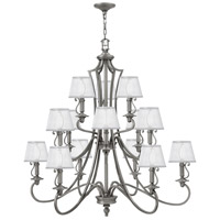 Hinkley 4249PL Plymouth 15 Light 45 inch Polished Antique Nickel Foyer Chandelier Ceiling Light Silver Organza Shade with Decorative Fabric Trim