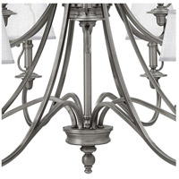 Hinkley 4249PL Plymouth 15 Light 45 inch Polished Antique Nickel Foyer Chandelier Ceiling Light, Silver Organza Shade with Decorative Fabric Trim alternative photo thumbnail