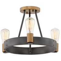 Hinkley 4263DZ Silas 3 Light 17 inch Aged Zinc with Heritage Brass Accents Foyer Light Ceiling Light