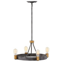 Hinkley 4264DZ Silas 4 Light 22 inch Aged Zinc with Heritage Brass Accents Chandelier Ceiling Light Single Tier