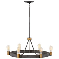 Hinkley 4266DZ Silas 6 Light 29 inch Aged Zinc with Heritage Brass Accents Chandelier Ceiling Light Single Tier
