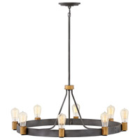 Hinkley 4268DZ Silas 8 Light 33 inch Aged Zinc with Heritage Brass Accents Chandelier Ceiling Light, Single Tier