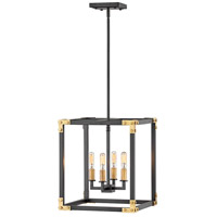 Hinkley 4294SK Louis 4 Light 15 inch Satin Black with Heritage Brass Accents Chandelier Ceiling Light, Open Frame
