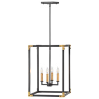 Hinkley 4295SK Louis 4 Light 18 inch Satin Black with Heritage Brass Accents Chandelier Ceiling Light, Open Frame