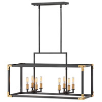 Hinkley 4298SK Louis 8 Light 35 inch Satin Black with Heritage Brass Accents Linear Chandelier Ceiling Light, Oval