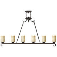 Casa 6 Light 54 inch Olde Black Linear Chandelier Ceiling Light, Island
