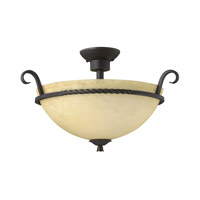 Hinkley 4311OL-GU24 Casa 3 Light 23 inch Olde Black Semi-Flush Mount Ceiling Light in GU24, Antique Scavo Glass