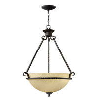 Hinkley 4313OL-GU24 Casa 3 Light 22 inch Olde Black Foyer Ceiling Light in GU24, Antique Scavo Glass