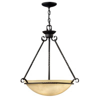 Hinkley 4314OL-GU24 Casa 4 Light 27 inch Olde Black Foyer Ceiling Light in GU24, Antique Scavo Glass