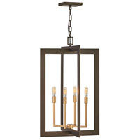 Hinkley 4344MM Anders 4 Light 18 inch Metallic Matte Bronze with Deluxe Gold Accents Chandelier Ceiling Light, Open Frame