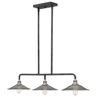 Rigby 3 Light 40 inch Aged Zinc Linear Chandelier Ceiling Light, Mesh Shades