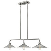 Hinkley 4364PN Rigby 3 Light 40 inch Polished Nickel Linear Chandelier Ceiling Light, Mesh Shades