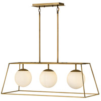 Hinkley 4376HB Jonas 3 Light 36 inch Heritage Brass Linear Chandelier Ceiling Light