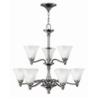Bloom 9 Light 32 inch Polished Antique Nickel Chandelier Ceiling Light, 2 Tier