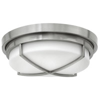 Hinkley 4381BN Halsey 2 Light 13 inch Brushed Nickel Flush Mount Ceiling Light, Etched Opal Glass