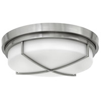 Hinkley 4382BN Halsey 3 Light 17 inch Brushed Nickel Foyer Flush Mount Ceiling Light, Etched Opal Glass