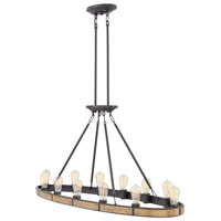 Everett 12 Light 48 inch Bronze Linear Chandelier Ceiling Light