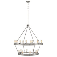 Everett 20 Light 39 inch Brushed Nickel Chandelier Ceiling Light, Multi Tier