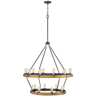 Everett 20 Light 39 inch Bronze with Heritage Brass Accents Chandelier Ceiling Light, Multi Tier