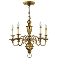 Cambridge 5 Light 25 inch Burnished Brass Chandelier Ceiling Light