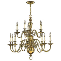Hinkley 4417BB Cambridge 15 Light 36 inch Burnished Brass Chandelier Ceiling Light, 2 Tier