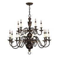 Hinkley 4417OB Cambridge 15 Light 36 inch Olde Bronze Chandelier Ceiling Light, 2 Tier