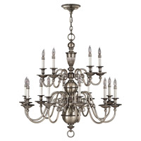Hinkley 4417PW Cambridge 15 Light 36 inch Pewter Chandelier Ceiling Light, 2 Tier
