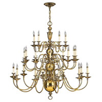 Hinkley 4419BB Cambridge 25 Light 49 inch Burnished Brass Foyer Chandelier Ceiling Light, 3 Tier