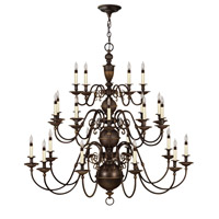 Hinkley 4419OB Cambridge 25 Light 49 inch Olde Bronze Chandelier Ceiling Light, 3 Tier