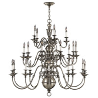 Hinkley 4419PW Cambridge 25 Light 49 inch Pewter Chandelier Ceiling Light, 3 Tier