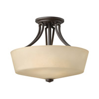 Parker 2 Light 16 inch Buckeye Bronze Semi Flush Ceiling Light in Etched Amber Linen, Incandescent