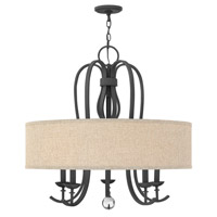 Hinkley 4473TB Marion 5 Light 30 inch Textured Black Chandelier Ceiling Light, Oatmeal Linen Shade