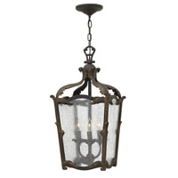 Hinkley 4523AI Sorrento 3 Light 12 inch Aged Iron Foyer Ceiling Light, Clear Seedy Glass