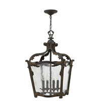 Hinkley 4524AI Sorrento 4 Light 16 inch Aged Iron Foyer Ceiling Light, Clear Seedy Glass